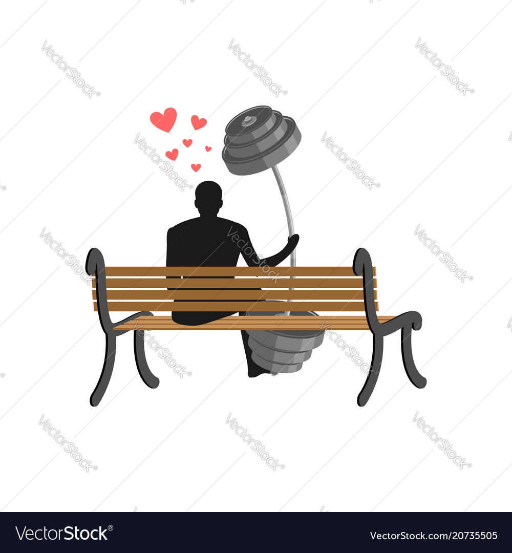 Lover fitness man and barbell sitting on bench
