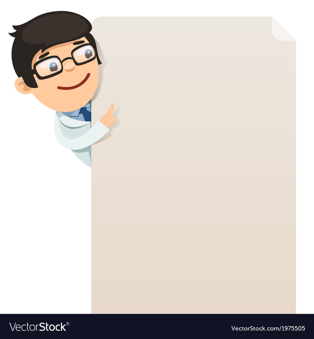 Male doctor looking at blank poster