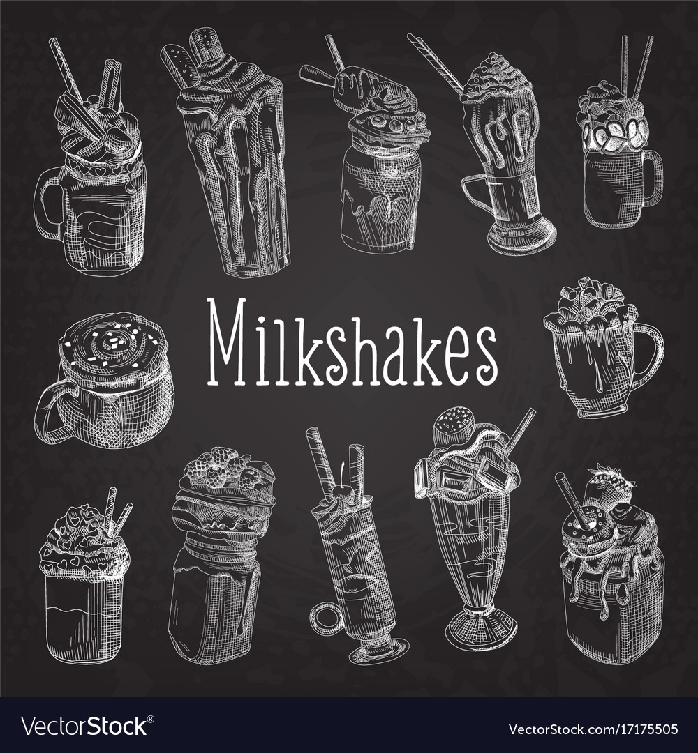 Milkshake and ice cream hand drawn doodle vector image
