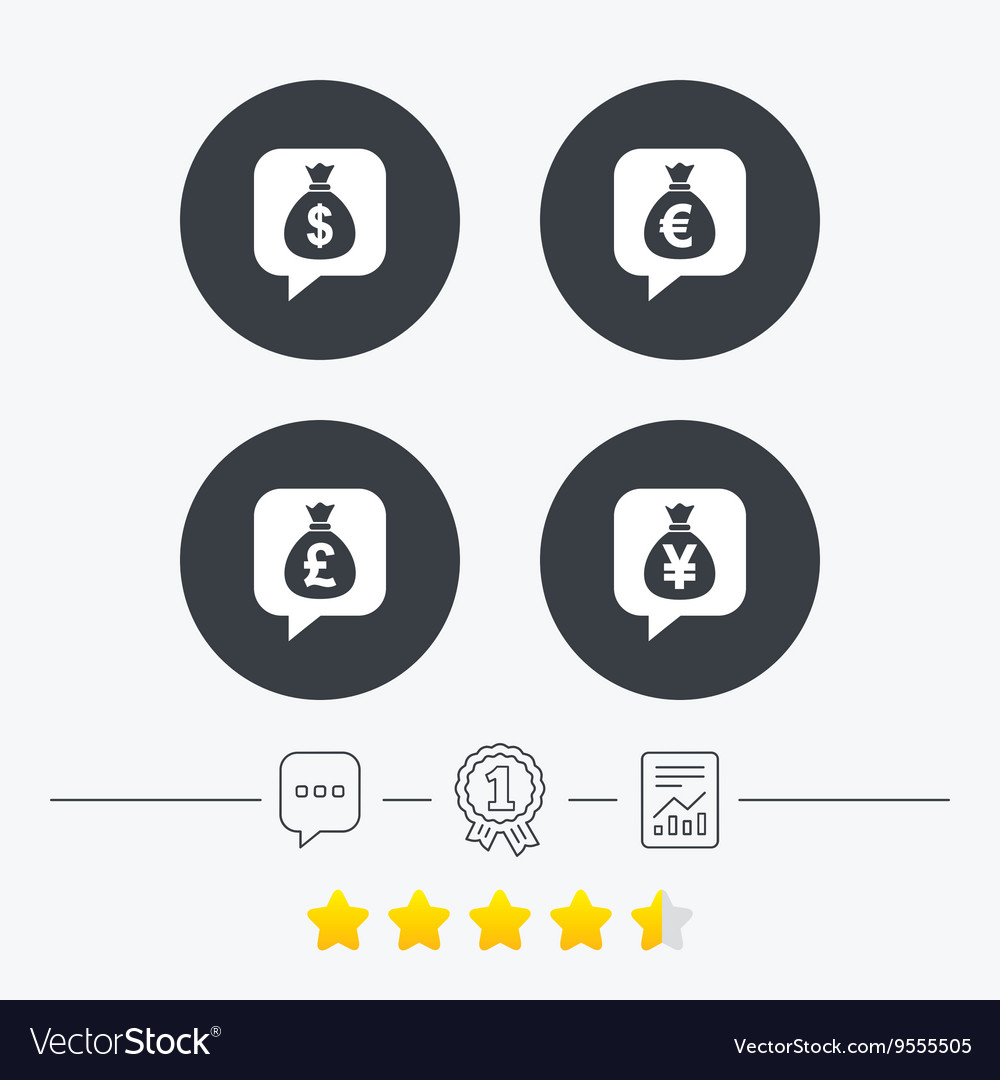 Money bag icons dollar euro pound and yen
