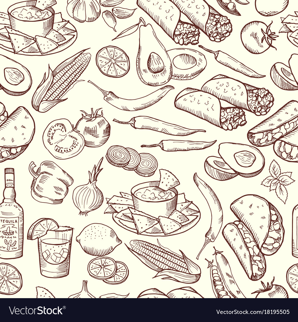 Seamless pattern with traditional mexican food