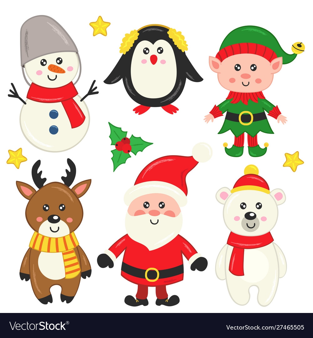 Set isolated cute christmas elements