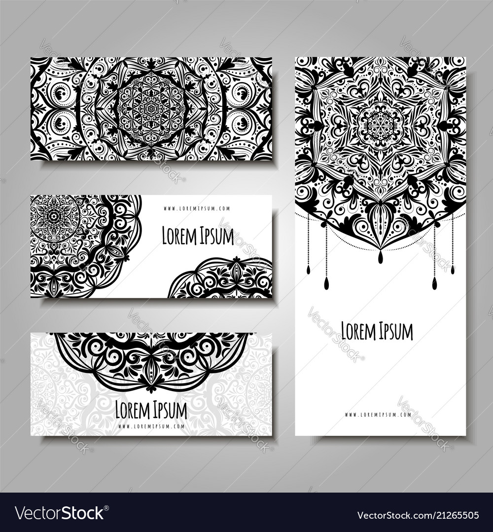 Set of business cards with ethnic ornament