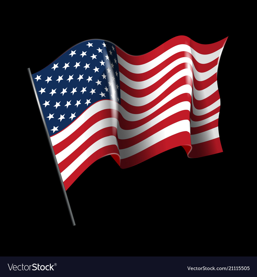 Waving american flag isolated on black