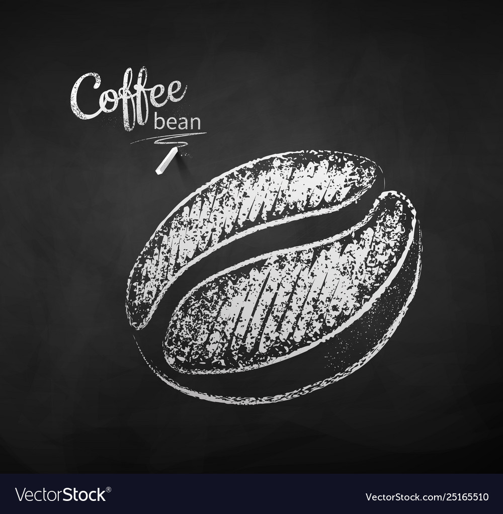 Black and white chalk sketch coffee beans