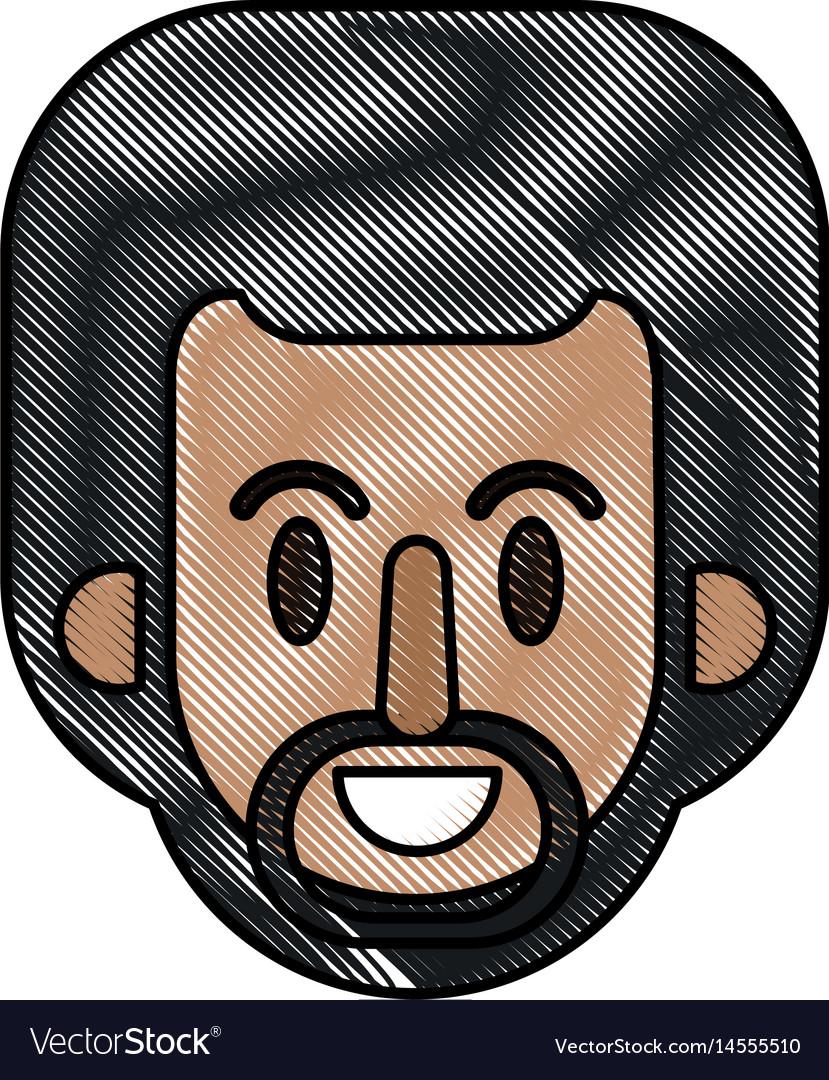 Drawing face afro man cartoon