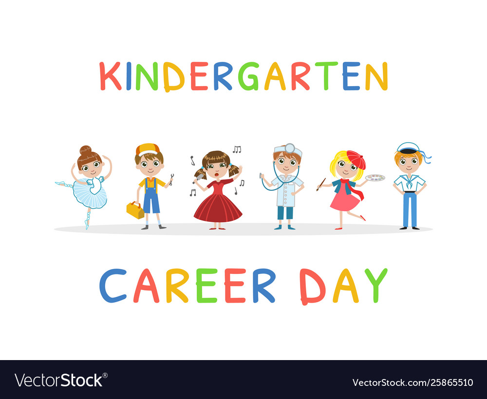 Kindergarten Career Day Banner Template Kids Vector Image