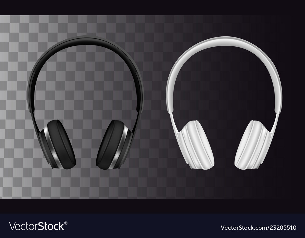 Set of wireless black and white headphones