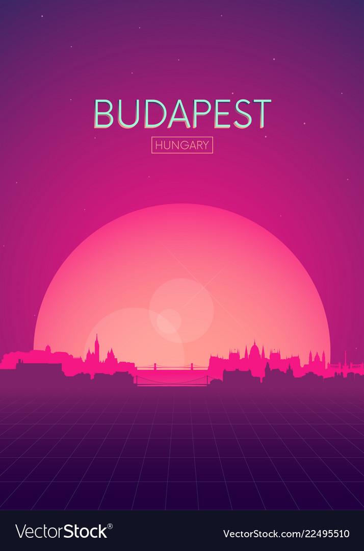 Travel poster futuristic retro skyline budapest