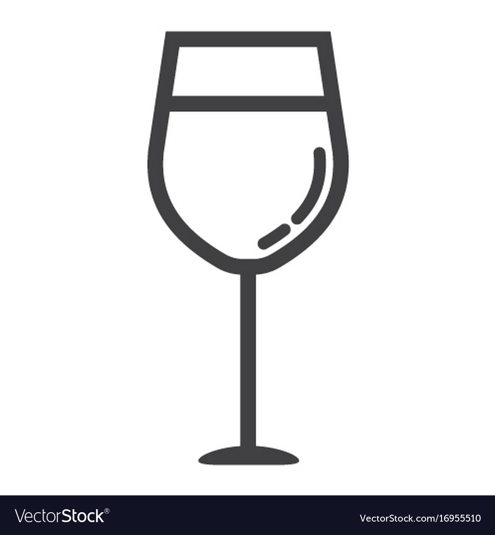 Wine glass line icon food and drink alcohol sign