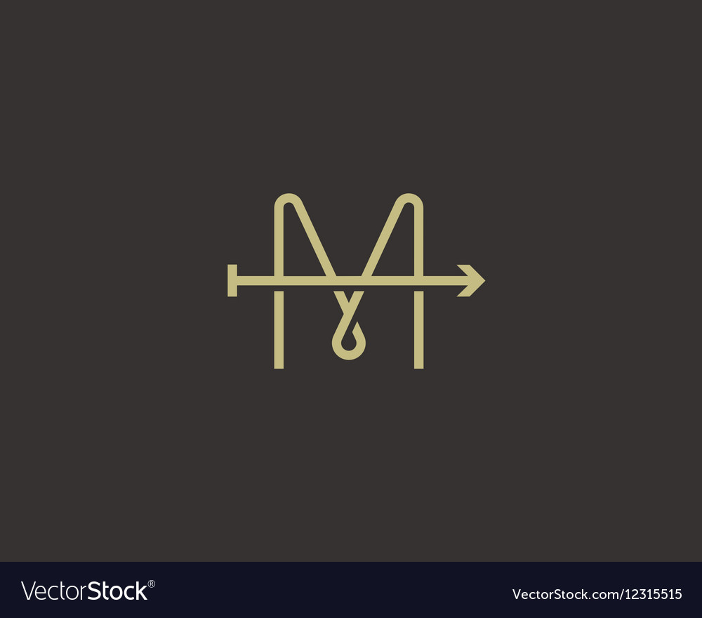 Abstract letter M arrow logo design Line vector image