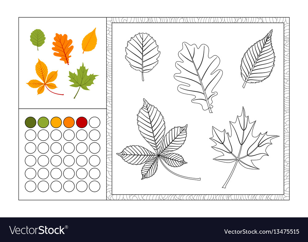 Autumn Leaves Coloring Book Page Template Vector Image