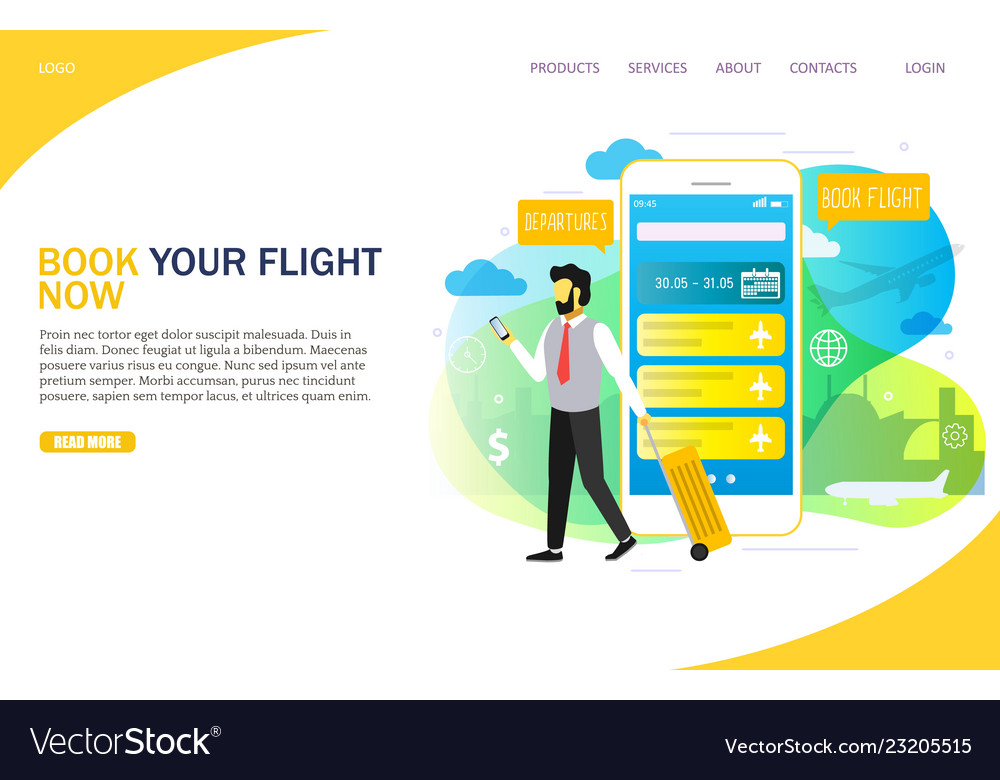 Book flight online landing page website
