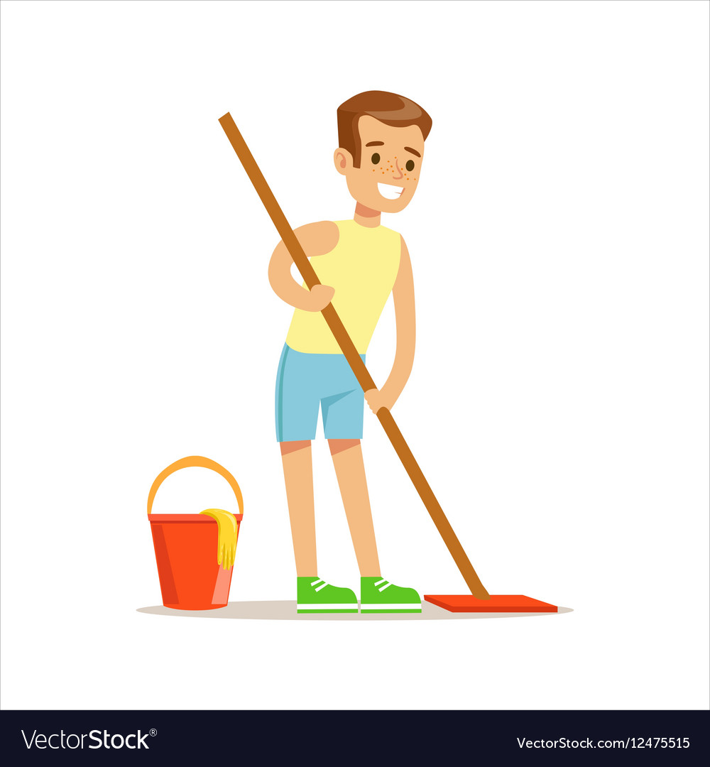 Boy Cleaning Floor With The Mop Smiling Cartoon vector image
