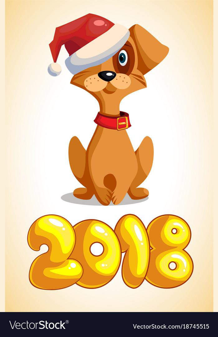 Cartoon dog with the inscription 2018
