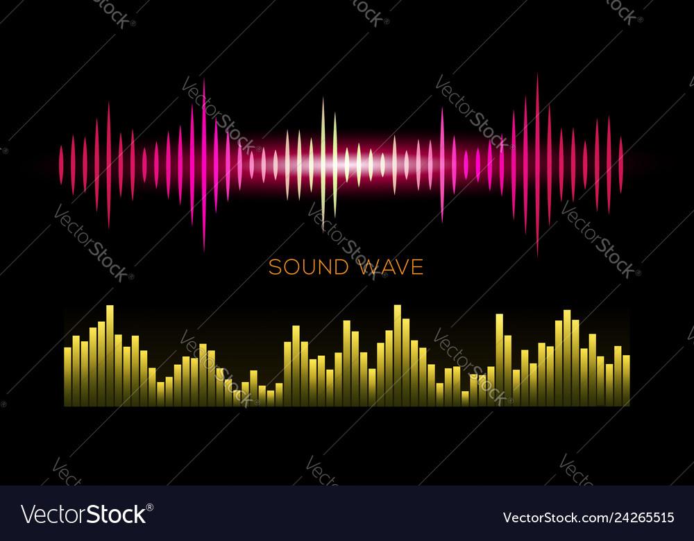 Colorful sound waves on black background set