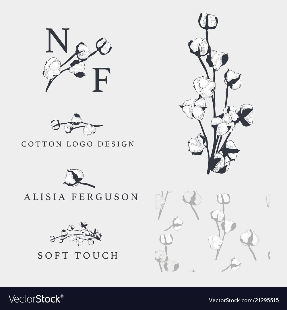 Cotton flower hand drawn logo templates vector image