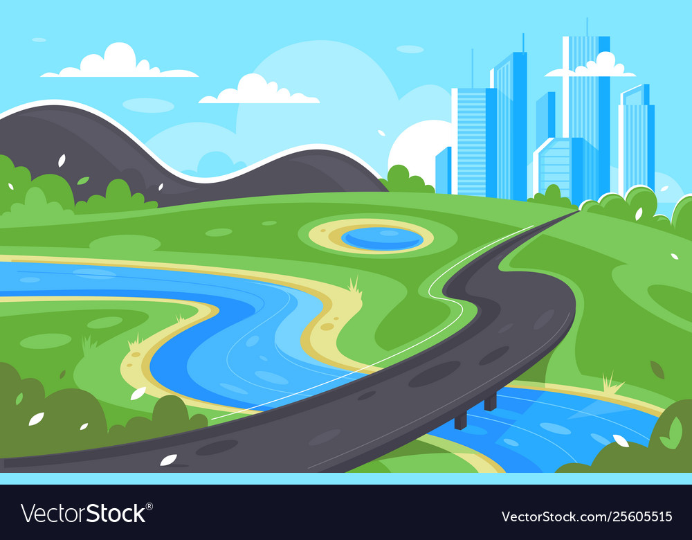 Flat road to city near river green landscape and