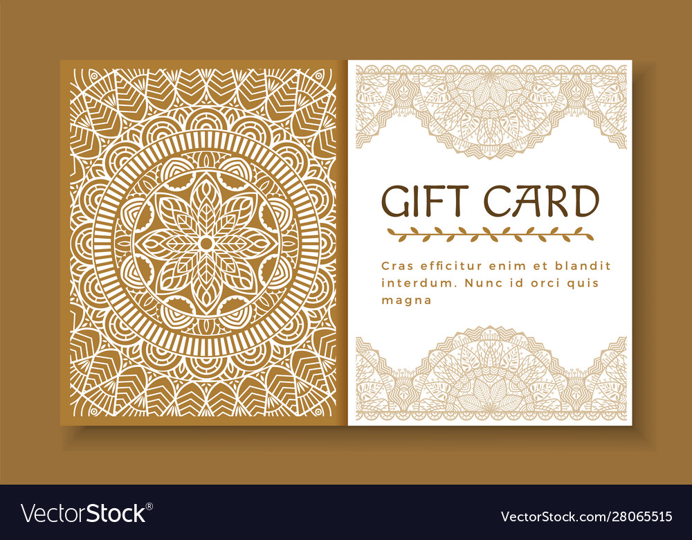 Gift card with mandala certificate with ornament