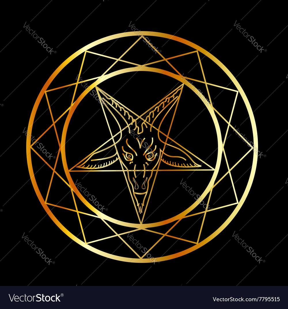 Golden sigil of Baphomet