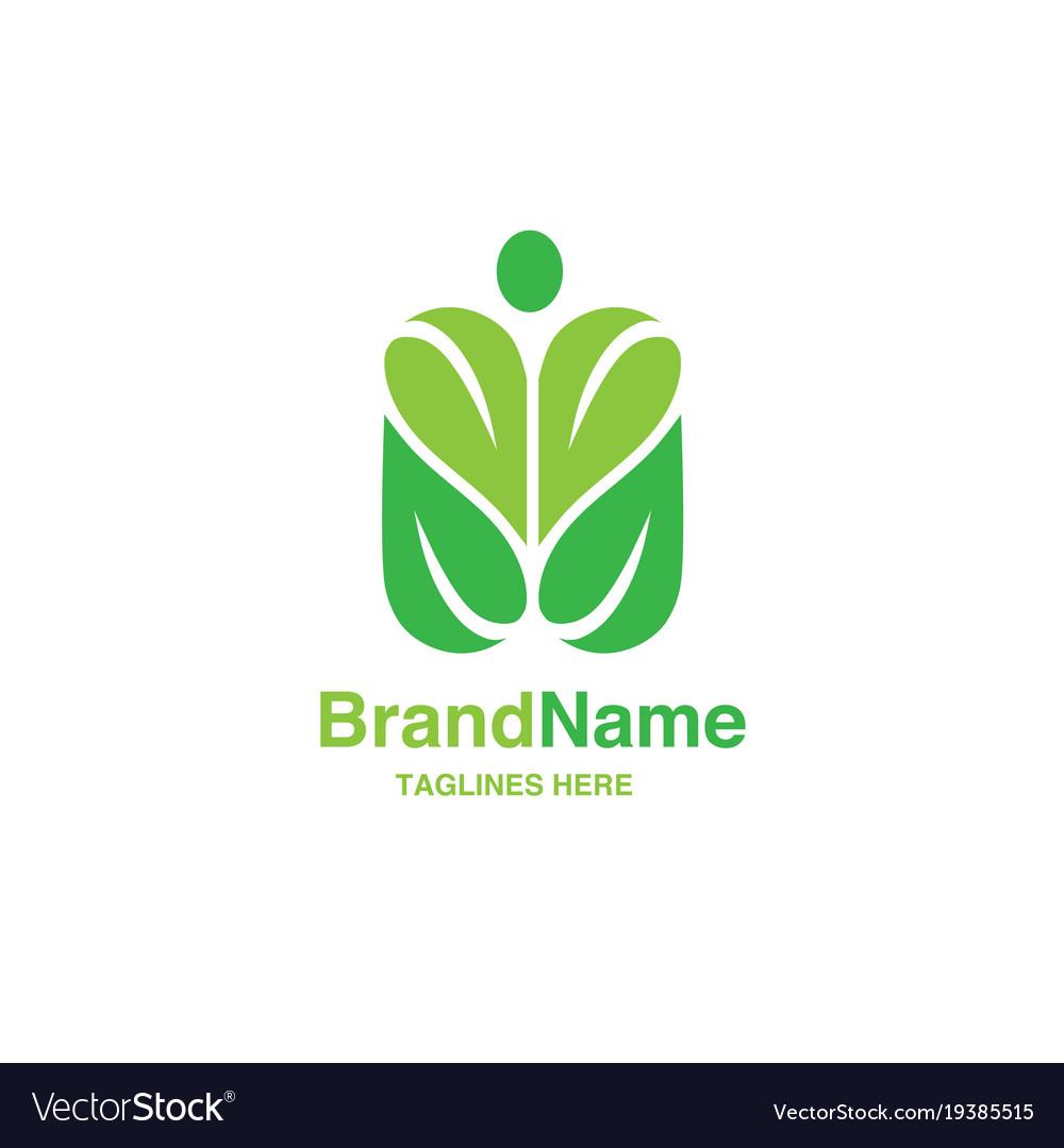 Green leaf with shape of human figure logo