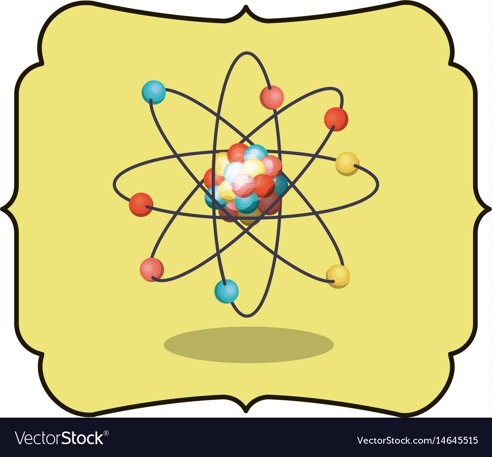 Isolated atom inside frame design vector image