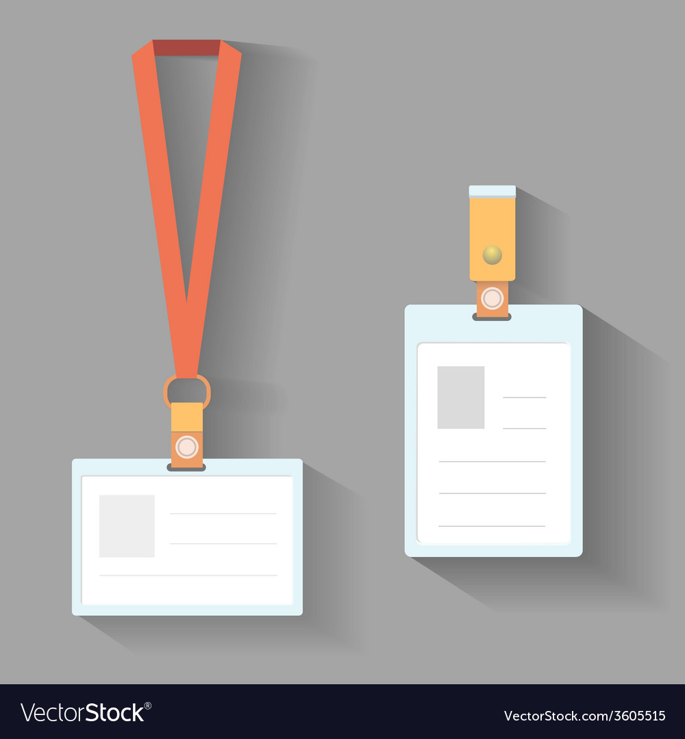 Lanyard badges flat design vector image