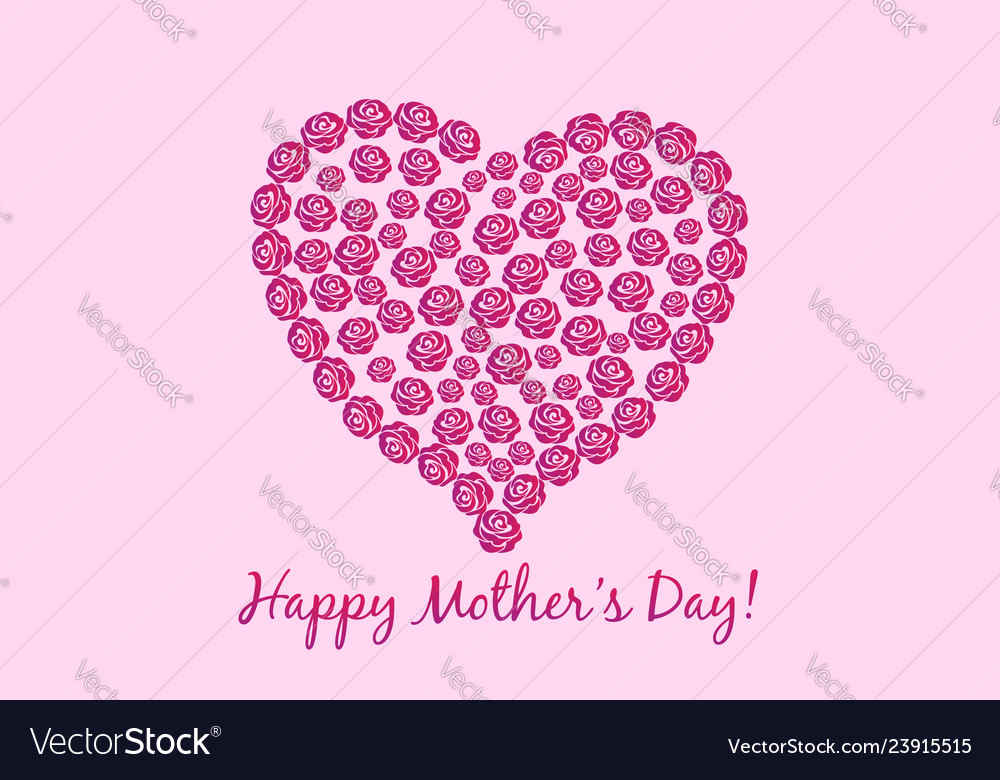 Mothers day flower heart card