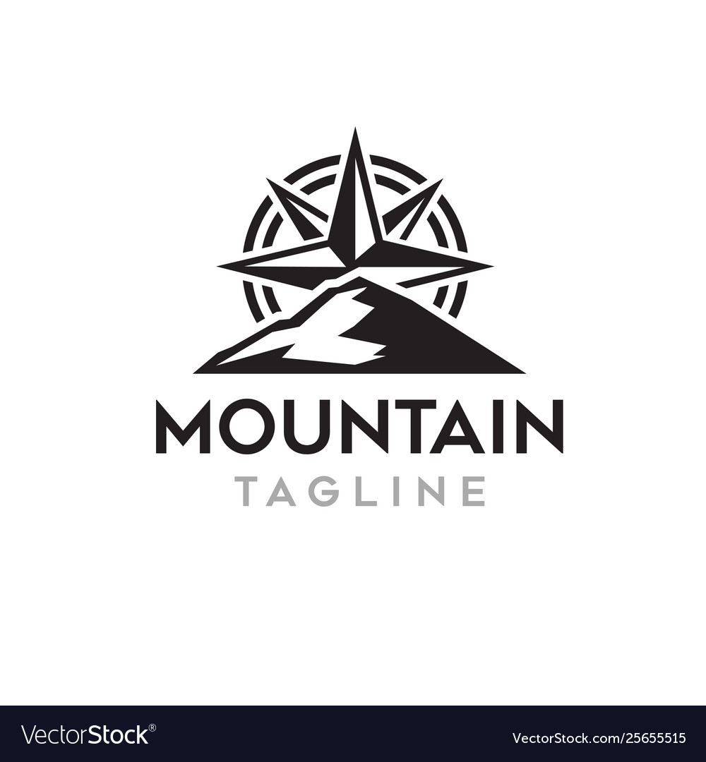 Mountain with compass logo template