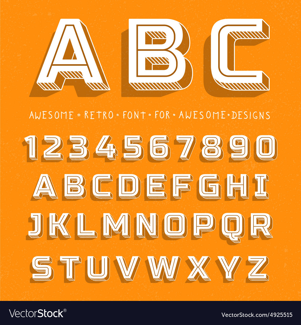 Retro 3D Font with shadow vector image