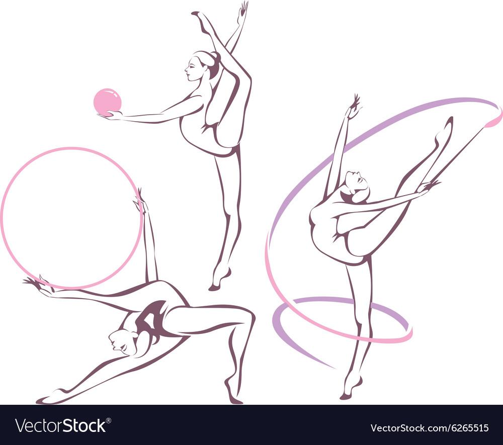 Rhythmic gymnastics set vector image