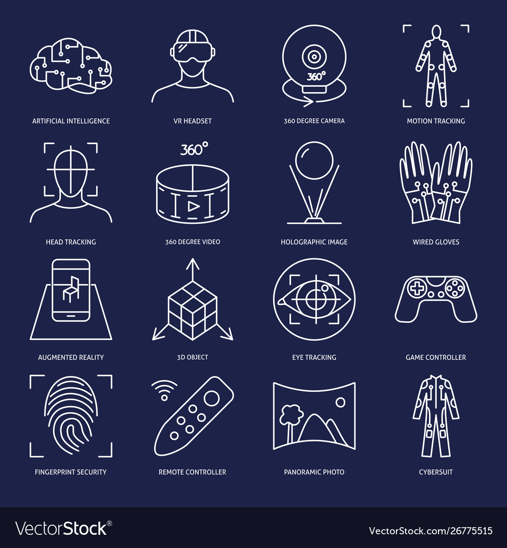 Virtual reality icon set in linear style