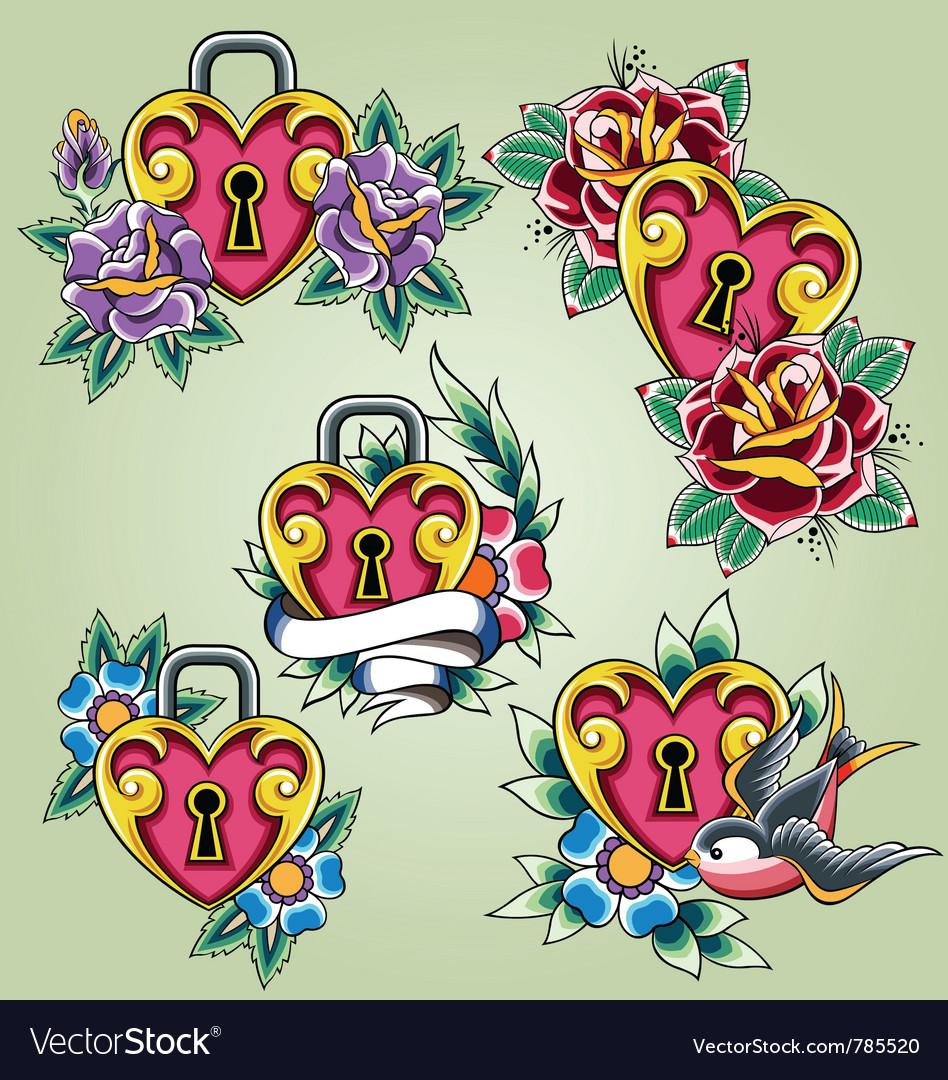 Bird heart and rose tattoo set vector image