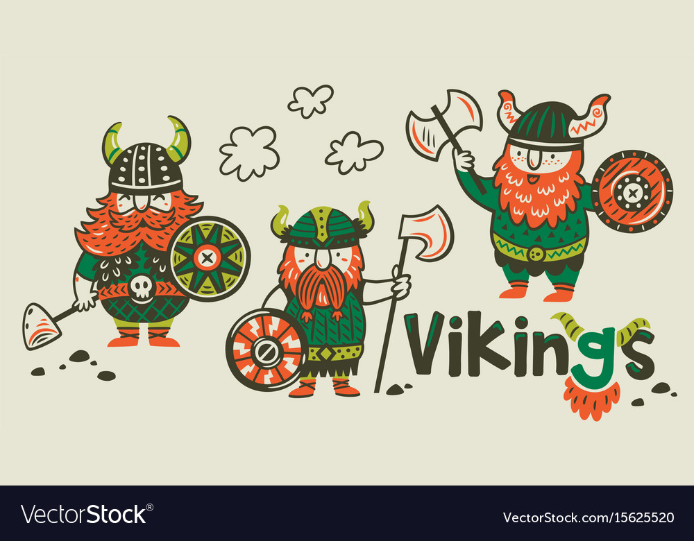 Cartoon ship scandinavian viking drakkar vector image