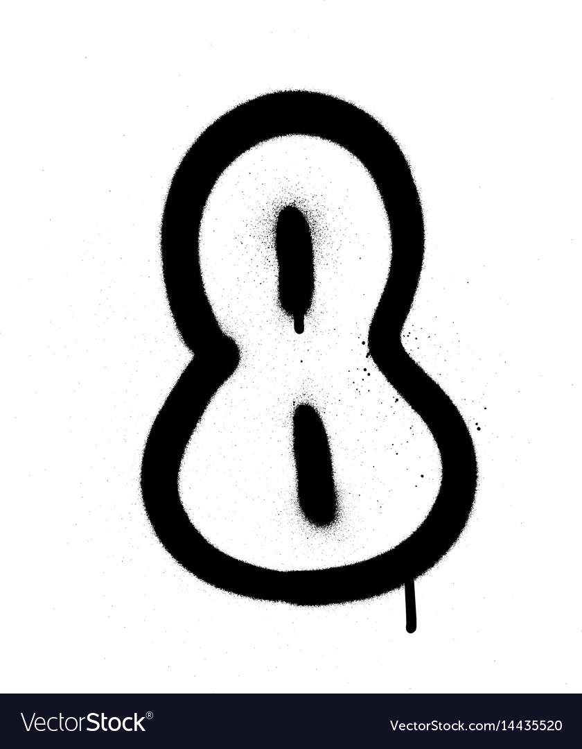 Graffiti bubble font number 8 in black on white vector image