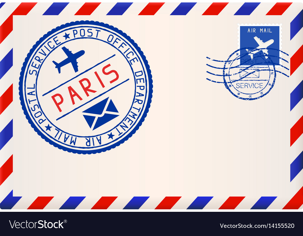 International air mail envelope from paris with