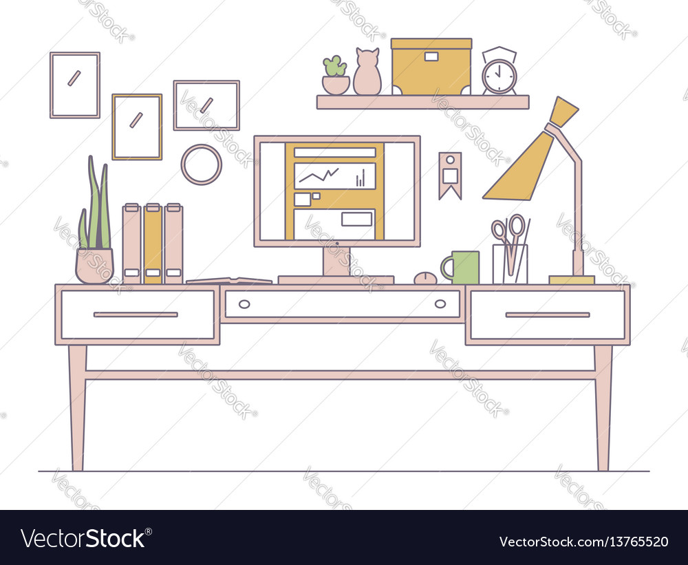 Line workplace in flat style interior