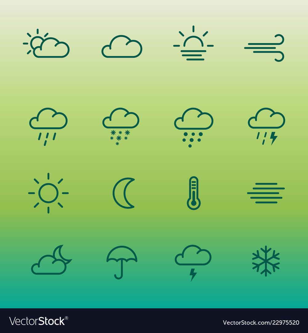 Lines weather forcast icon set on green gradient