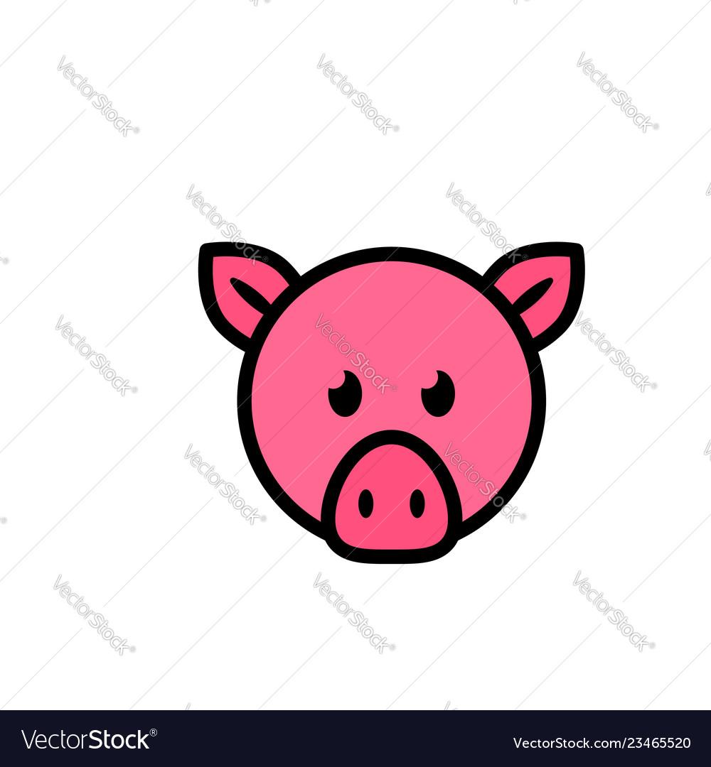 Pig head flat icon sign symbol