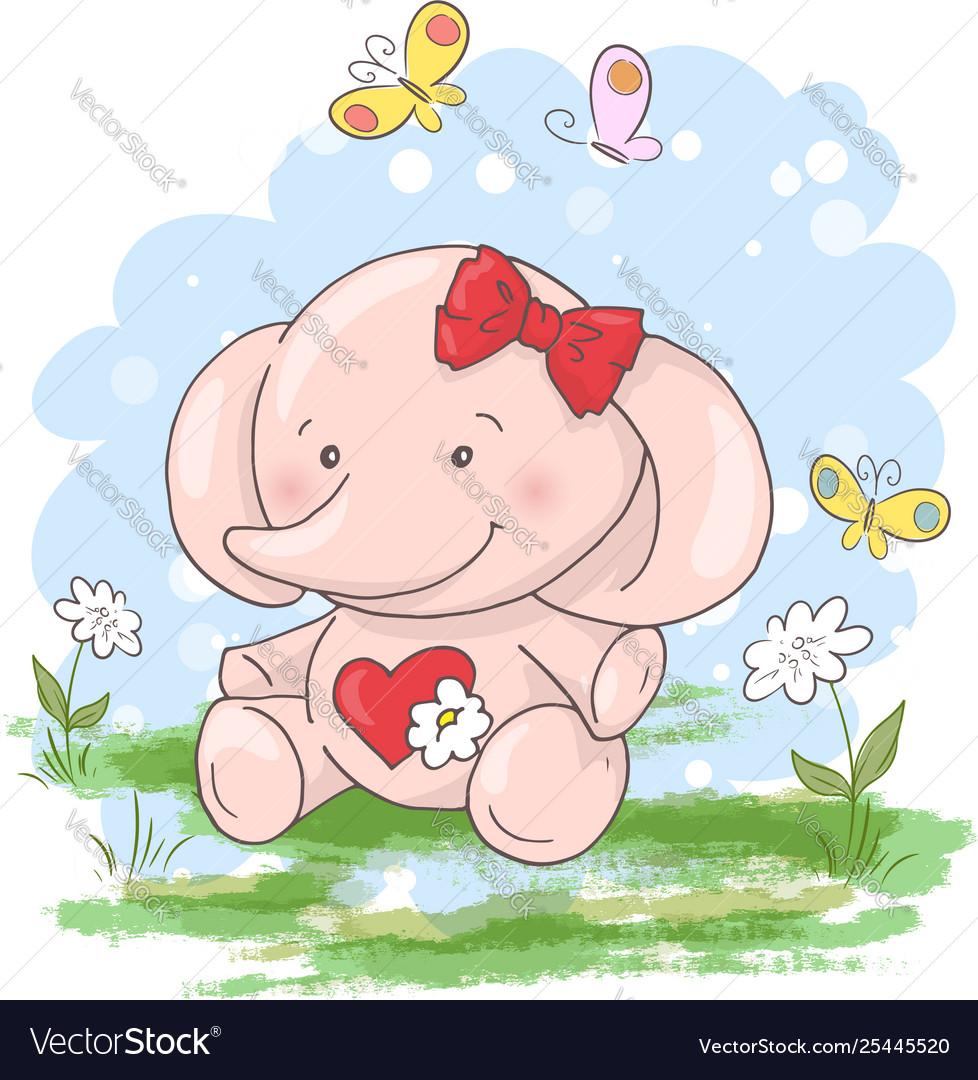 Postcard cute little elephant flowers and