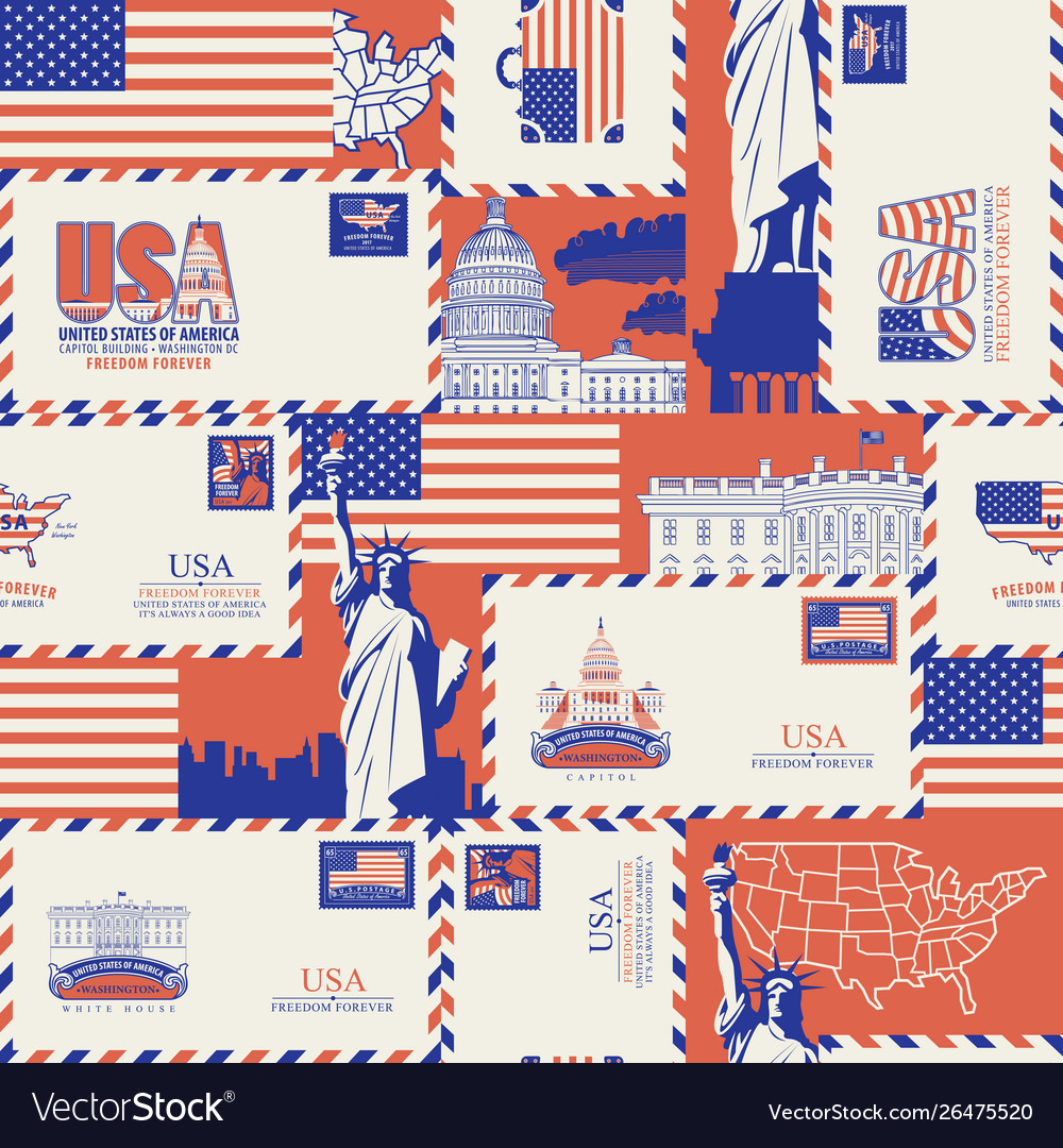 Seamless pattern on theme usa vector