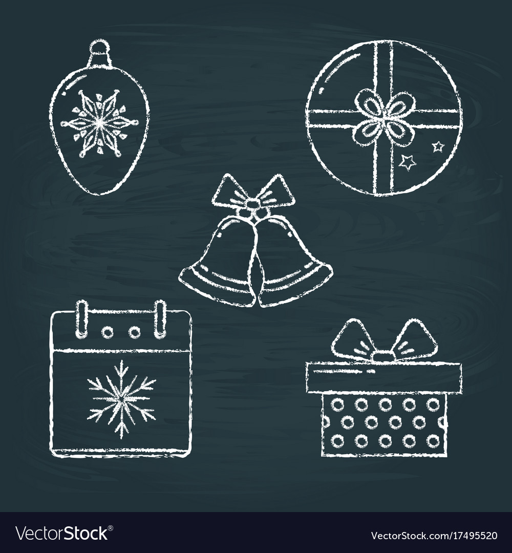 Set of christmas icons sketches on chalkboard