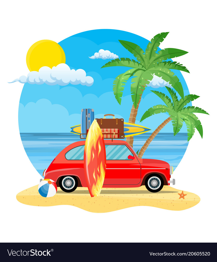 Travel Car With Surfboard And Suitcases Vector Image