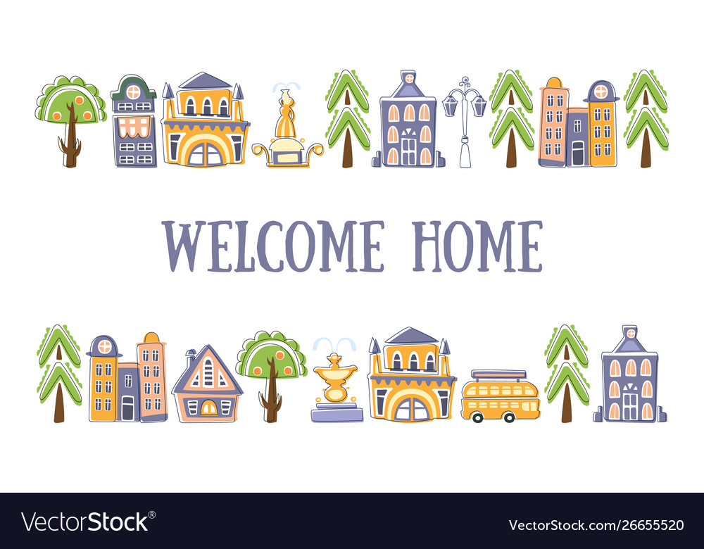 Welcome home banner template with cute hand drawn