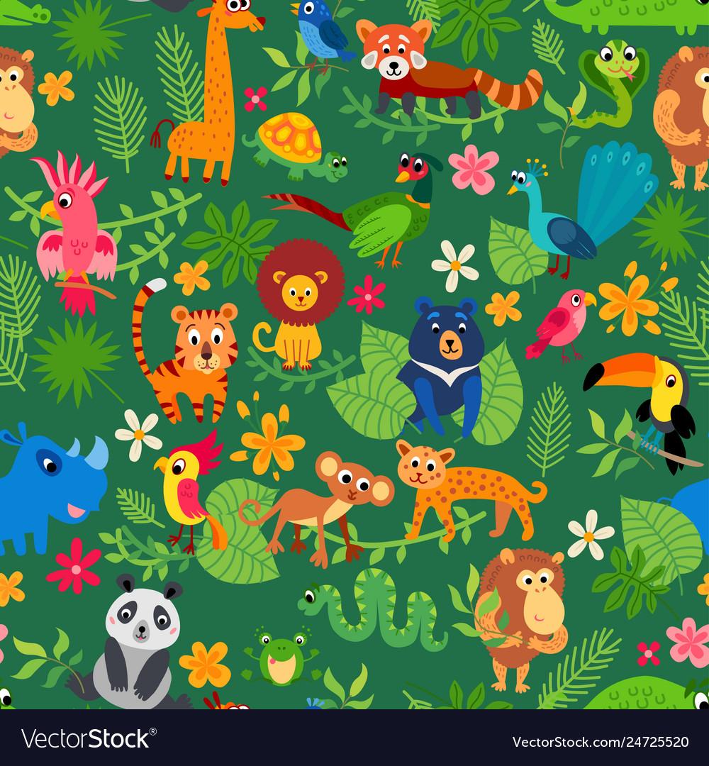 Zoo jungle pattern seamless tropical