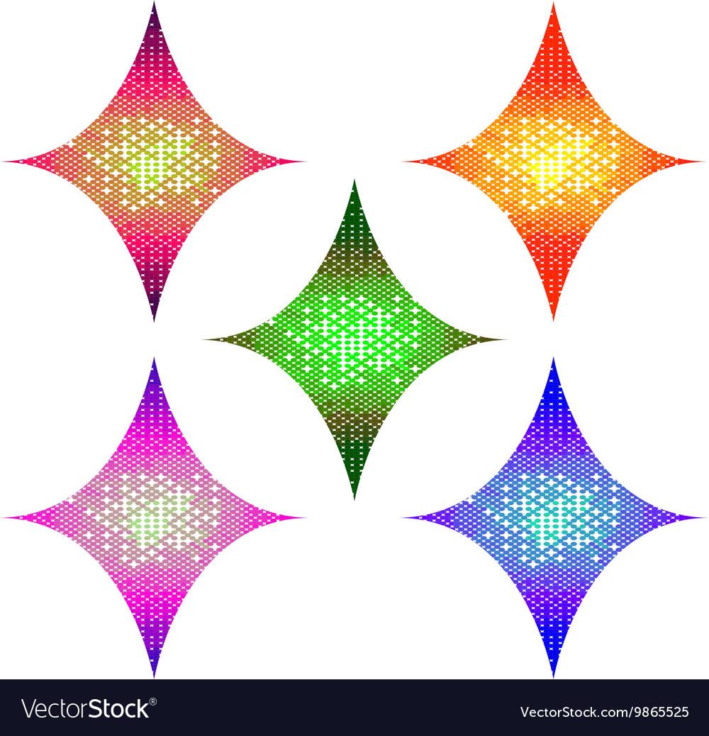 Abstract Halftone Design rhombus Elements set