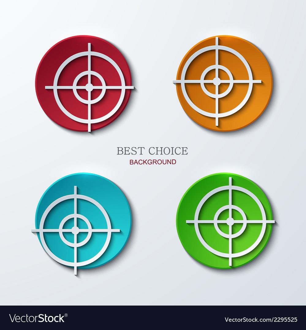 Aim icons set on sample background