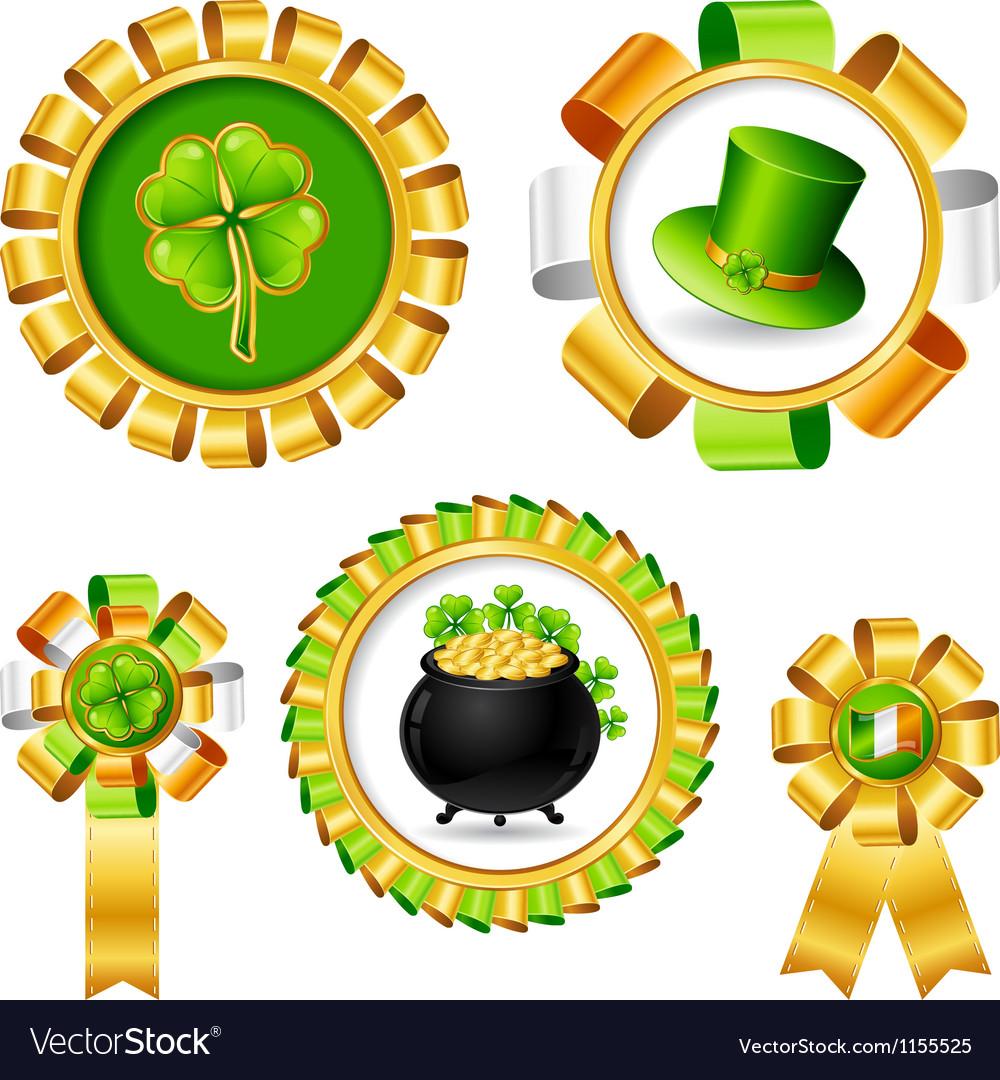 Award ribbons with Saint Patricks day objects