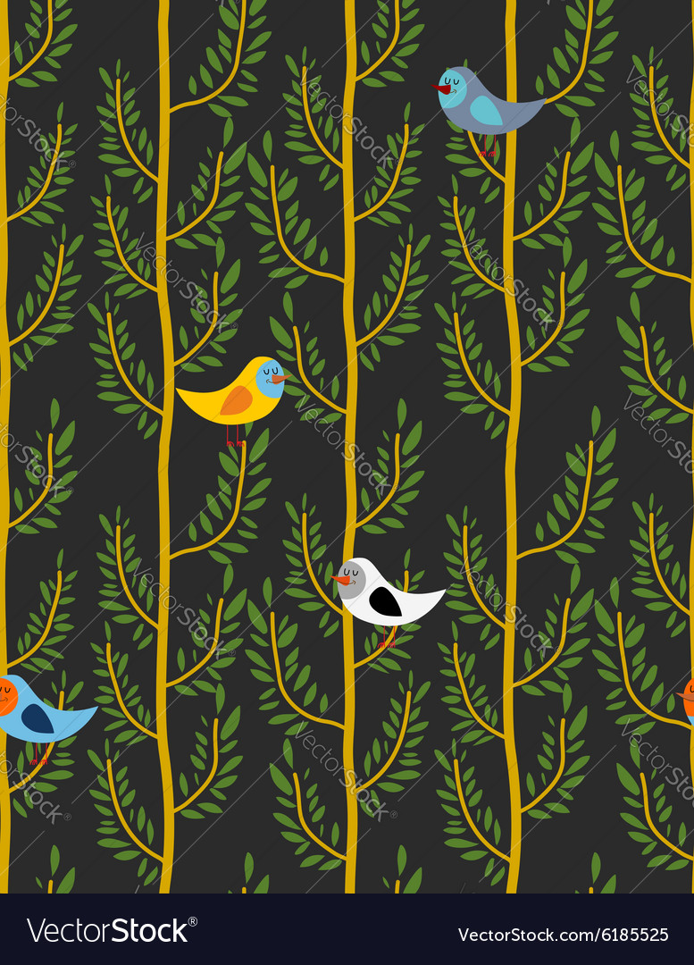 Birds on trees seamless pattern background of