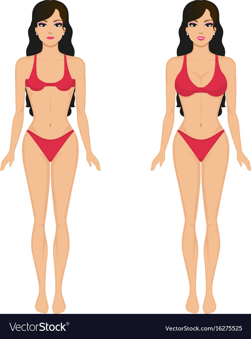 Cartoon Girl Breasts Before And After Royalty Free Vector